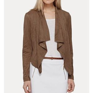 Katherine Barclay Brown Faux Suede Drape Jacket